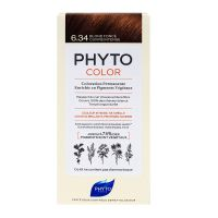 PhytoColor kit coloration permanente blond foncé cuivré intense 6.34