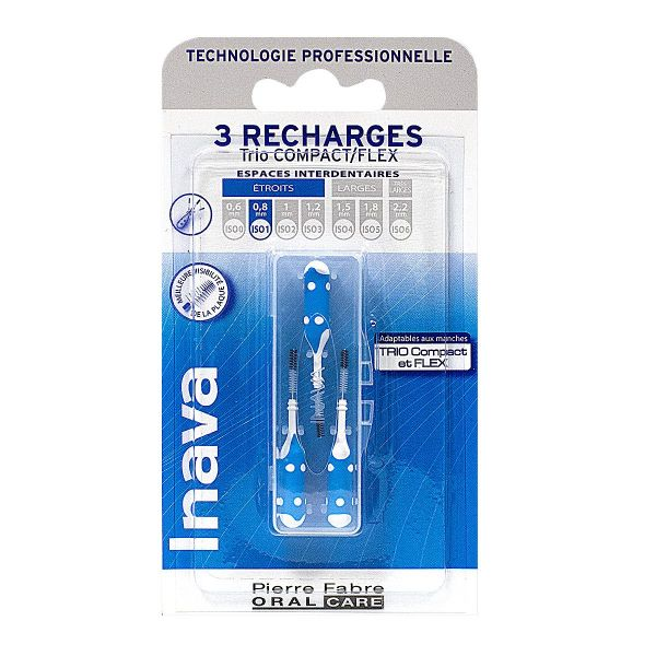 3 brossettes interdentaires recharges 1 Trio Compact/Flex