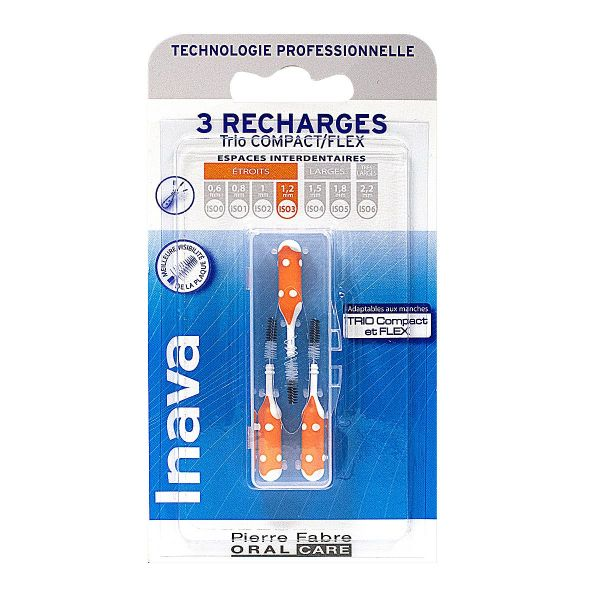 3 brossettes interdentaires recharges 3 Trio Compact/Flex
