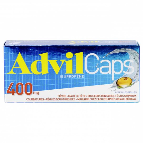 advilcaps 400mg capsules molles est un anti inflammatoire utilis en cas de douleurs et fi vre. Black Bedroom Furniture Sets. Home Design Ideas